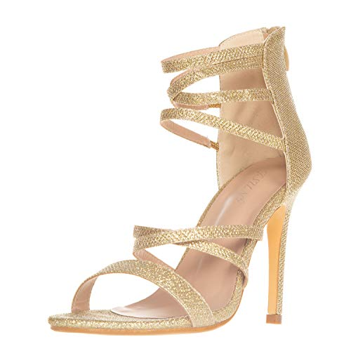 JSUN7 Women's High Heel Sandals 1920s Gatsby Multi Sparkling Ankle Strap Open Toe Stiletto Heels Fashion Dress Party Wedding Shoes for Women Gold