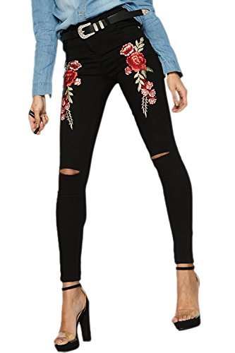 Bordados Jeans Flor Ankle Rasgado Pantalones La Black Yacun Skinny Mujeres EqtnZxYEwB