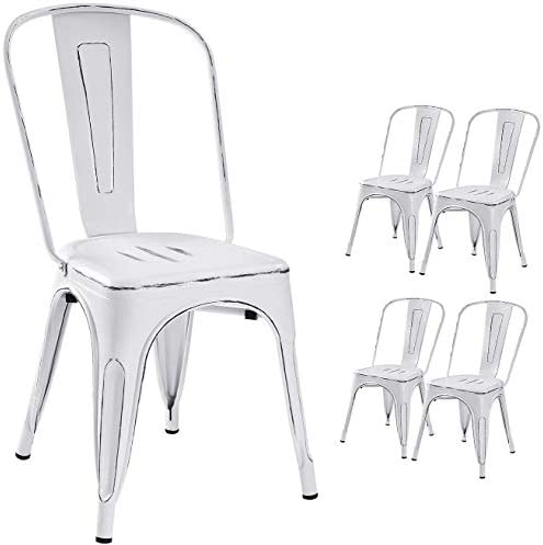 Devoko Metal Indoor-Outdoor Chairs Distressed Style Kitchen Dining Chairs Stackable Side Chair