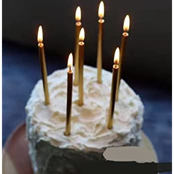 Astra Gourmet 12 Count Party Long Thin Metallic Birthday Candles In Holders For Cakes Decorations Gold