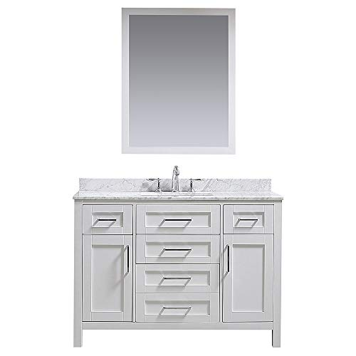 Ove Decors Maya 48 White Single Sink Vanity with Marble Top, Backsplash and Mirror, 48 inches,