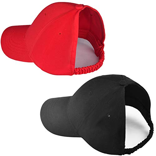 Natural Hair Backless Ponytail Hat for Women, Curly Hair Ponytail Messy Bun Baseball Hat (2 Packs-A-Red&Black)