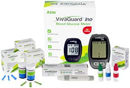 VivaGuard Highest Accuracy (8 Electrode Sensing) Blood Sugar Test Kit Diabetes Testing Kit with Blood Glucose Meter, 100 Test Strips, 100 Lancets, Lancing Device, and Control Solution