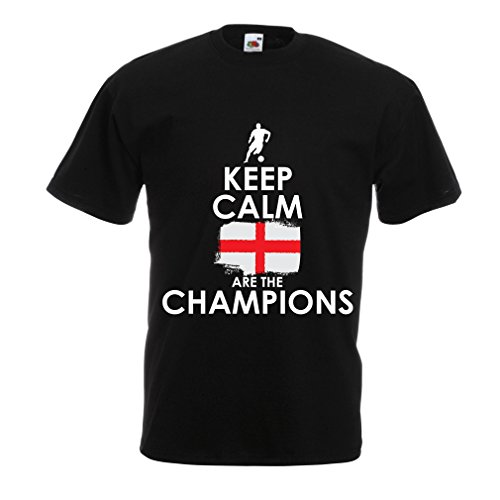 N4517 T Shirts For Men Keep Calm, English Are The Champions! (XXX-Large Black Multi - Cheapest Soccer Jerseys Online