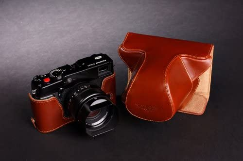 Handmade Genuine real Leather Full Camera Case bag cover for FUJIFILM X-Pro1 Brown Bottom opening Version