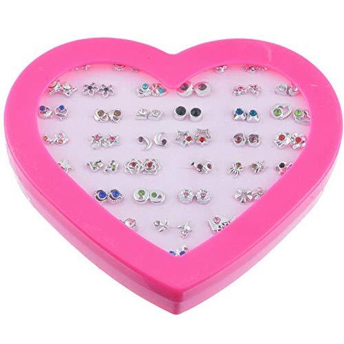 (Mikash Fashion Jewelry 1 Box Women Men Earring Star Rhinestone Heart Form Sweet Gift GW | Model JWRLBX - 252 |)