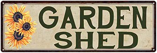 Chico Creek Signs Garden Shed Sunflowers Vegetable Patio Metal Sign Wall Décor 6 x 18 High Gloss Metal 206180016001 (Best Paint For Garden Shed)