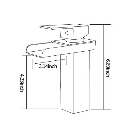 Modern Single Hole Bathroom Waterfall Bathroom Sink Faucet,Gold