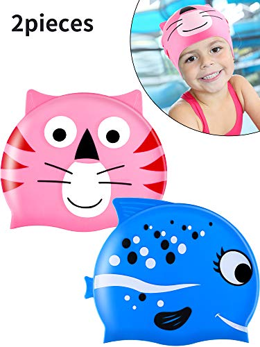 Zhanmai 2 Pieces Kids Swimming Cap Silicone Waterproof Swim Hat with Cute Animal Pattern for Boys and Girls Who Aged 2-8 (Style 3)