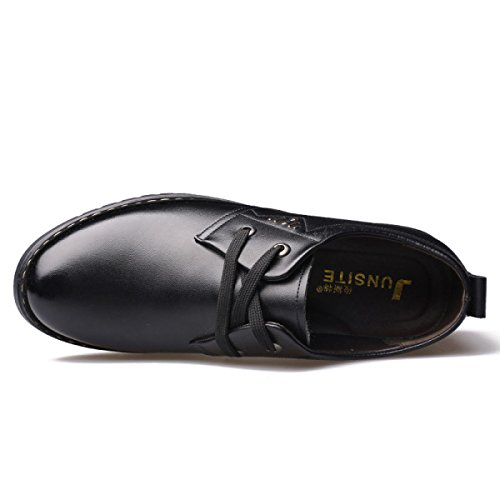 GRRONG Zapatos De Cuero De Los Hombres Del Ocio Cómodo De Moda Negro Marrón Black