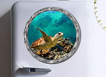 Graz Design Sticker mural d/écoratif pour chambre denfant Motif dauphin et tortues or