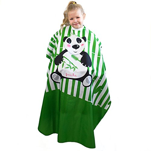 Salon Supply Co Hair Cutting Cape for Kids - Panda Print - Lightweight 100% Polyester Water Resistant - Snap Closure
