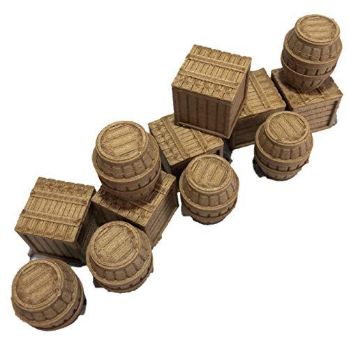 Crates and Barrels Set - 28mm Gaming Terrain (Barrel Office Crate And Accessories)