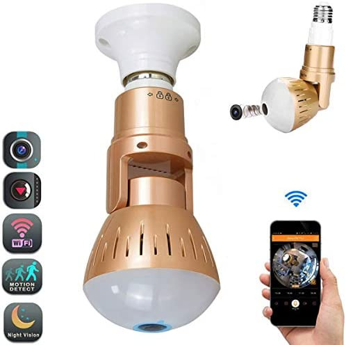 Smart Bulb Camera WiFi LED 1080p Cameras 360 Degree Panoramic Fish Eye HD Cameras with Night Vision Rotation Function Surveillance Motion Detection