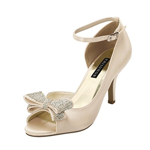 ERIJUNOR E1599 Women Comfortable Middle Heel Peep Toe Bows Rhinestones Satin Wedding Evening Party Shoes Champagne US 8