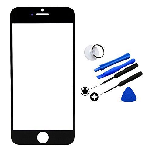 Apple iPhone 6 [4.7 inch] Display Touchscreen Replacement Front Screen Glass Lens Cover + Tool Kit (Black) Generic