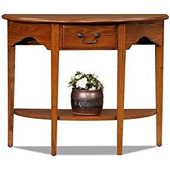 Charlton Home Apple Valley Console Table, Half Moon Shape, Medium Oak