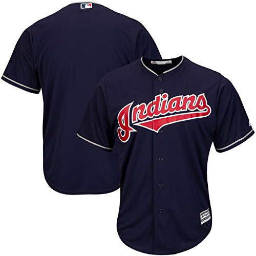 VF Cleveland Indians MLB Mens Majestic Cool Base Replica Jersey Navy Blue Big & Tall Sizes (Navy Blue Replica Jersey)