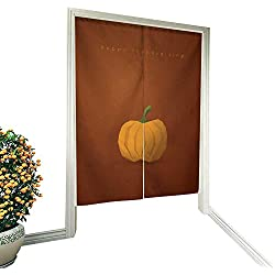 """Mikihome Door curtainjapanese Door curtainThanksgiving Background Template Holiday Card Vector Pumpkin on Orange Backdrop 34""""x59"""""""