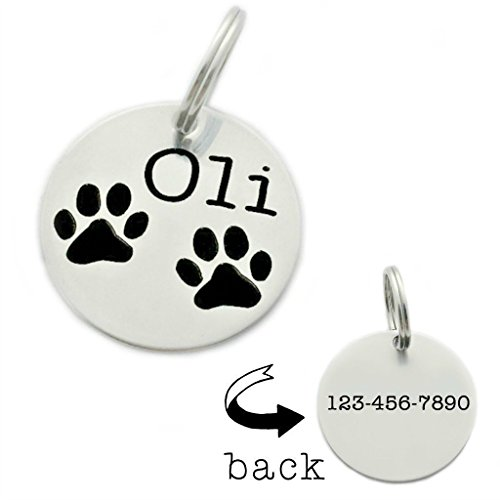 Personalized Paw Print Pet ID Tag - Engraved Name & Phone Number - 1418 by Oaklee Mae