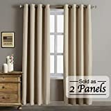 Blackout Thermal Insulated Curtains-Antique Bronze Grommet Top for Bedroom or Living Room,Grommet Curtain,Wide 52 by Length 84 inches,Beige,2 Pieces Set
