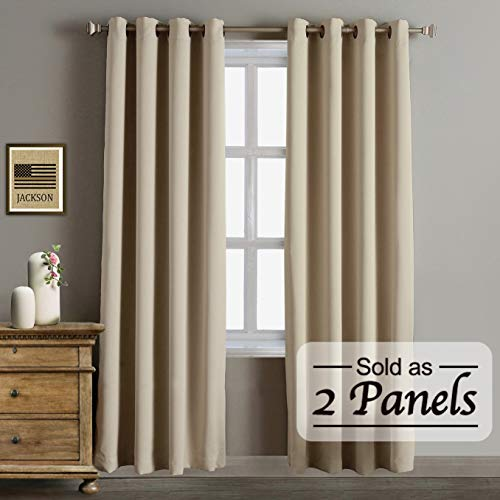 (Blackout Thermal Insulated Curtains-Antique Bronze Grommet Top for Bedroom or Living Room,Grommet Curtain,Wide 52 by Length 84 inches,Beige,2 Pieces Set)