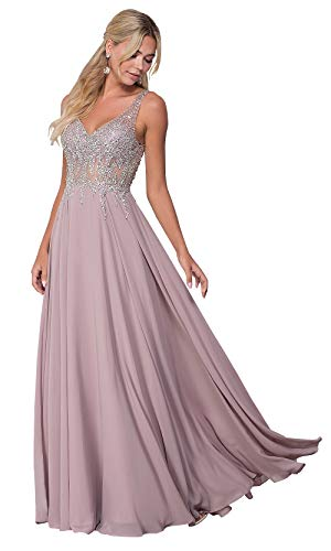 KKarine Women's Sexy V Neck Beaded Crystal A Line Chiffon Prom Dresses Long Evening Formal Gown (6 Dusty Rose)