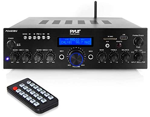 Wi-fi Bluetooth Energy Amplifier System – 200W Twin Channel Sound Audio Stereo Receiver w/ USB, AUX, MIC IN w/ Echo, Radio – For Residence Theater Leisure by way of RCA, Studio Use – Pyle PDA65BU,Black