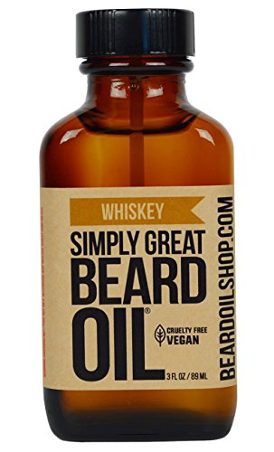 Simply Great Beard Oil – WHISKEY Scented Beard Oil – Beard Conditioner 3 Oz Easy Applicator – Natural – Vegan and Cruelty Free Care for Beards – America's Favorite