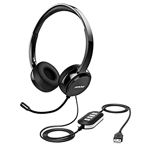 Mpow 071 USB Headset/ 3.5mm Computer Headset with Microphone Noise Cancelling, Lightweight PC Headset Wired Headphones, Business Headset for Skype, Webinar, Phone, Call Center ()