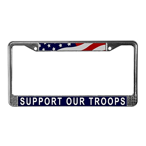 (CafePress Support Our Troops License Plate Frame Chrome License Plate Frame, License Tag)