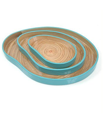 Arcadia Home TL207 Amoeba Design Lacquer & Spun Bamboo Nesting Trays , Blue