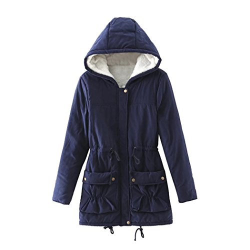 Women Hoodies Navy Outwear Coat Long Slim Fur Winter Fuibo Jacket Warm rPRxqgrwY