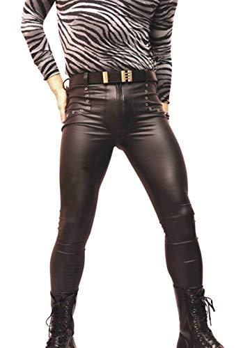 Pants Nero Pantaloni Da Skinny Rock Ragazzo Tinta Autunno Club Inverno In Fashion Unita Ank Pelle Uomo Ecopelle Leisure PiZOkXuT