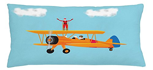 fengyijiating Vintage Airplane Throw Pillow Cushion Cover Cartoon Style Woman in Jumpsuit Walking on a Biplane Aviation Acrobatics Decorative Square Accent Pillow Case 18 X 18 inch