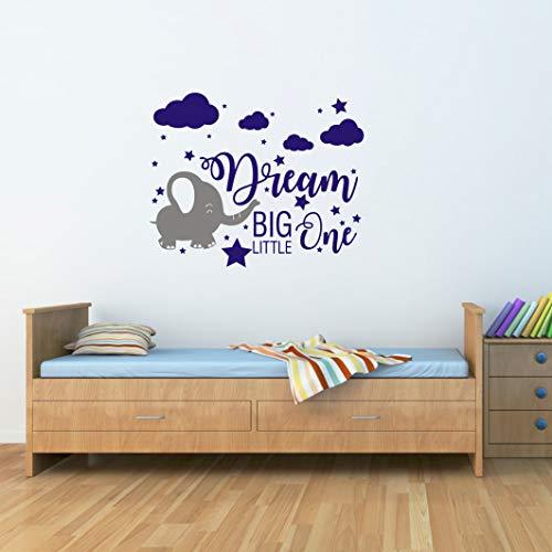 - Yyart Elephant Nursery Wall Decal, Dream Big Little One Decal, Elephant Sticker, Baby Boy Girls Room Decor, Nursery Decals, Cloud and Star Nursery(A42) (Gray,Blue)