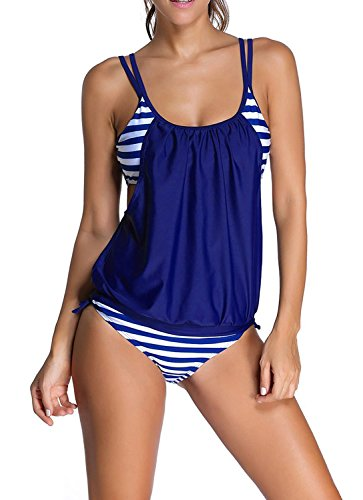 Anna & Eric Womens Stripes Lined Up Double Up Tankini (US6-8(tag size L), Blue)
