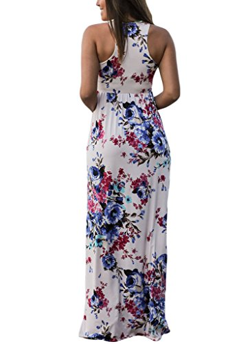 Sleeveless Lovezesent Round Neck Print White1 Long Floral Women's Casual Maxi Dress Aaq1F