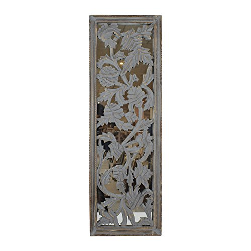 Finish Wood Distress (Indian Heritage - Wooden Wall Panel 36x12 MDF Mirror with Carved Panel Design in Grey Distress Finish)