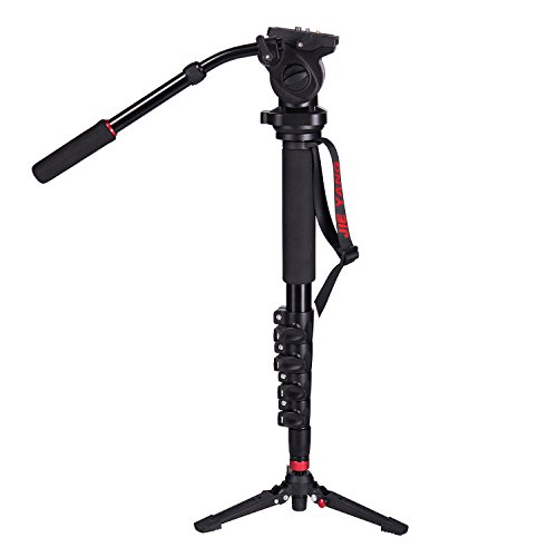 Camera Monopod,WIth Fluid Pan Head Quick Release Plate And Removable feet, 63 Inch Max Load 11 LB for DSLR Cameras or Video