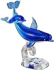 GARNECK Crystal Glass Dolphin Figurine Statue Decoration Blown Blue Dolphin Sea Animal Sculpture Statue Home Decor