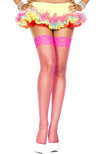 - SPANDEX INDUSTRIAL NET LACE TOP THIGH HI WITH SILICON GRIP (ONE SIZE, HOT PINK)