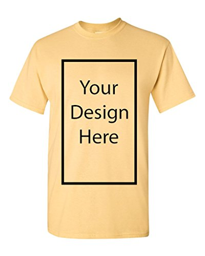 Add Your Own and Text Design Custom Personalized Adult T-Shirt Tee (Medium, Yellow Haze)