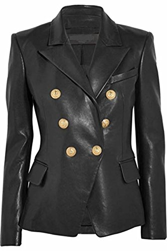 (Leather Hubb Leather Jacket Women's Business Black Leather Blazer Coats Jacket GoldenButton (XL))
