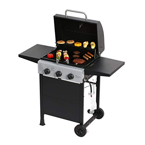 MASTER COOK Classic Liquid Propane Gas Grill, 3 Bunner with Folding Table, Black (Renewed)
