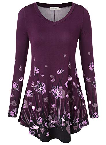 Tunic Lounge Set - BAISHENGGT Women's Flared Comfy Loose Fit Tunic Top Small T06 Purple #2