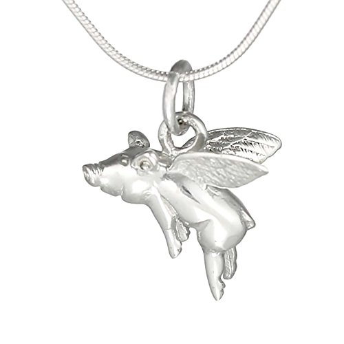 inBLISS When Pigs Fly Flying Pig Charm Pendant Necklace 925 Sterling Silver Gift ()