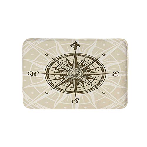 YOLIYANA Compass Soft Door Mat,Sun Motifs Backdrop with Sepia Windrose Directions East West North South Navigation Decorative for Living Room,17.7