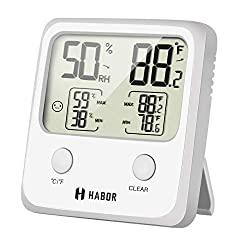 Habor Digital Thermometer Hygrometer Large Lcd Screen Temperature Humidity Monitor High Accuracy Room Thermometer Hygrometer Indicator For Home Office Greenhouse Cellar 3 3 X 3 2 Inch