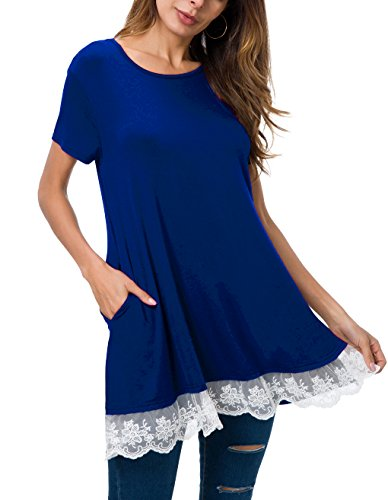 Mounblun Women Lace Long & Short Sleeve Tunic Top Blouse with Pockets (XX-Large, S-Blue) (Lace Tunic Long)